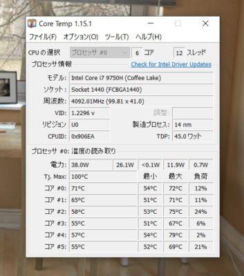 GALLERIA GCR2070RGF-QCのCPU温度